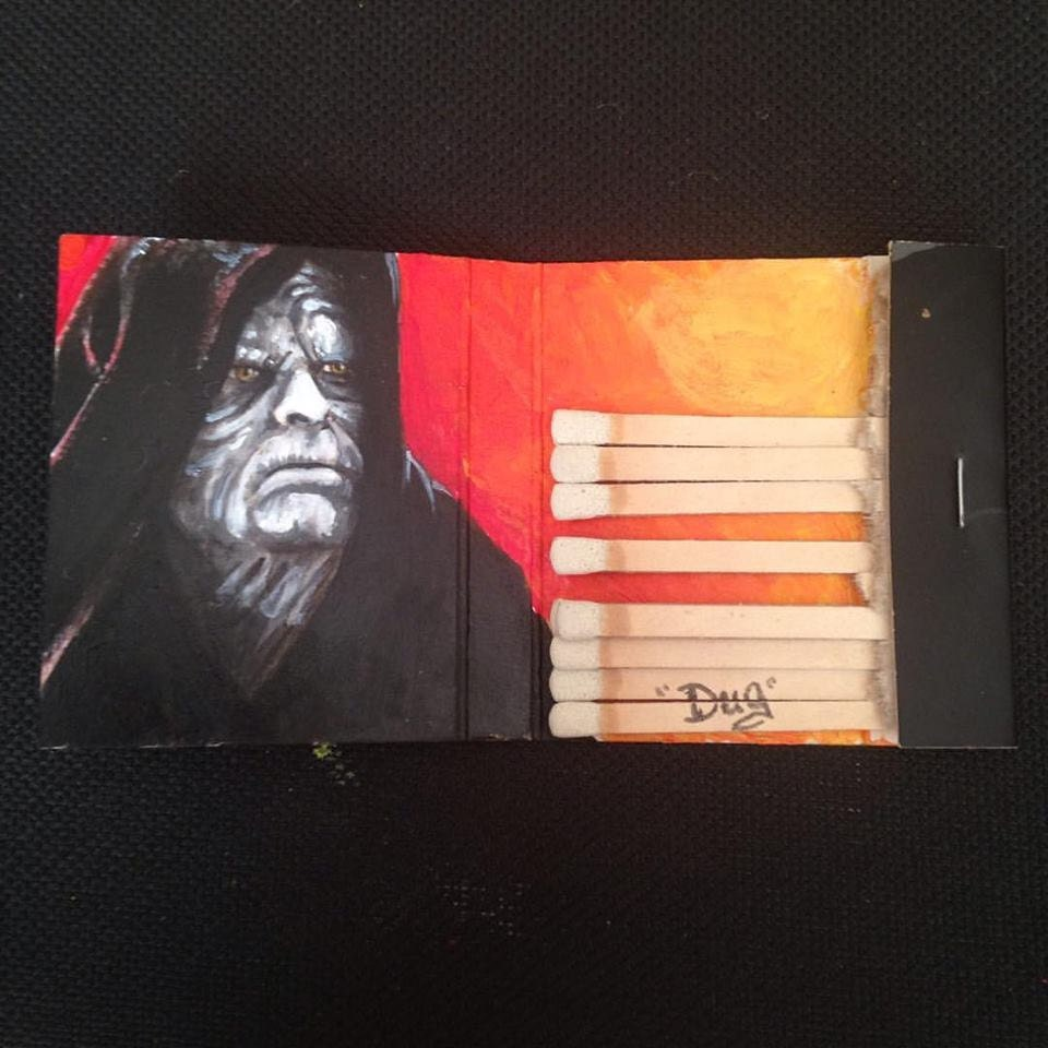 Sidious.  Acrylic on vintage matchbook