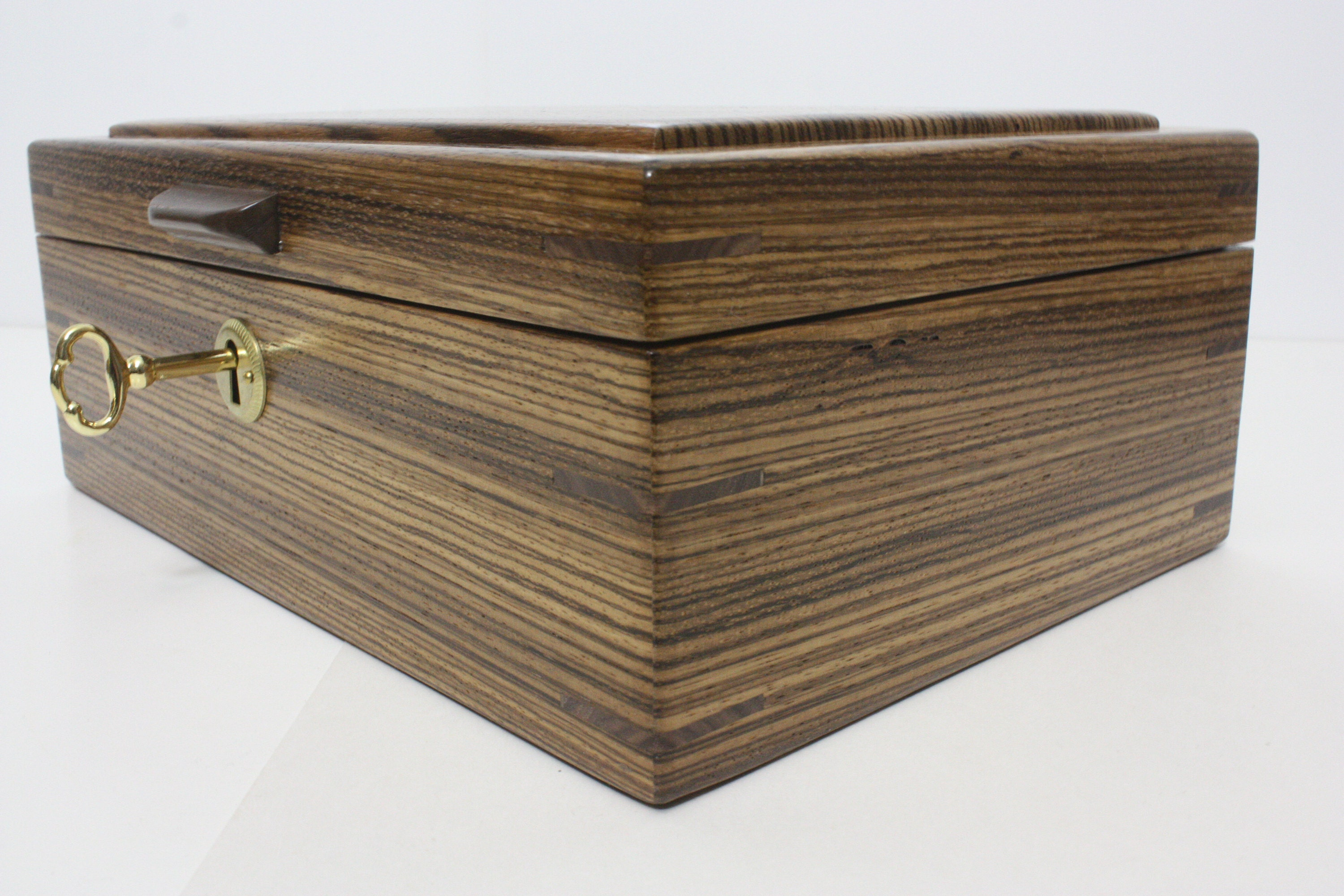 Zebrawood Locking Wood Box