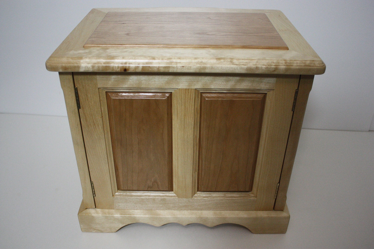 Handmade Jewelry Box with Cherry Wood Raised Panels For Sale