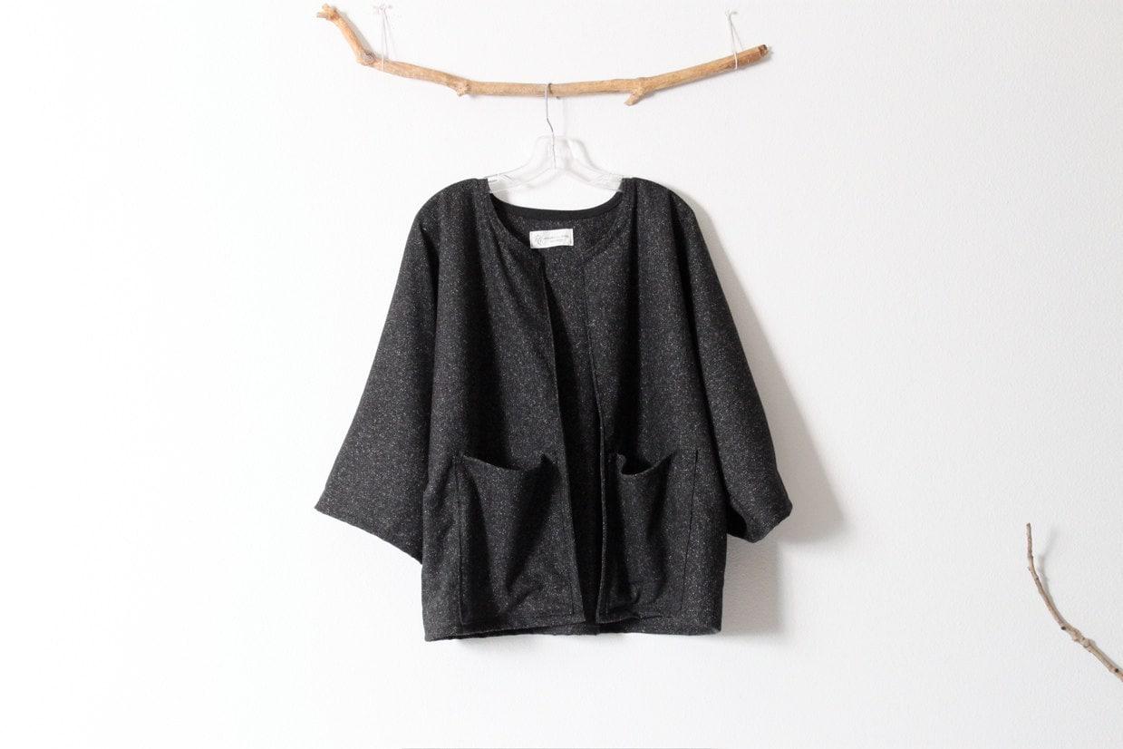 simplicity jacket in black tweed wool