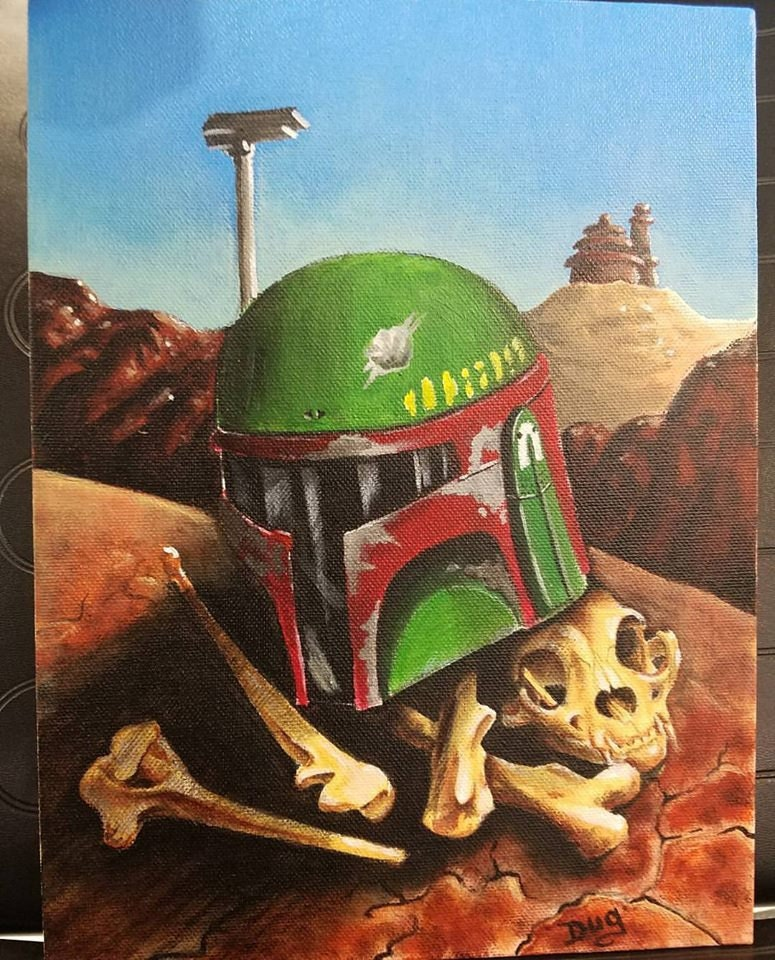 Boba Dead? 8.5x11 Acrylic on canvas