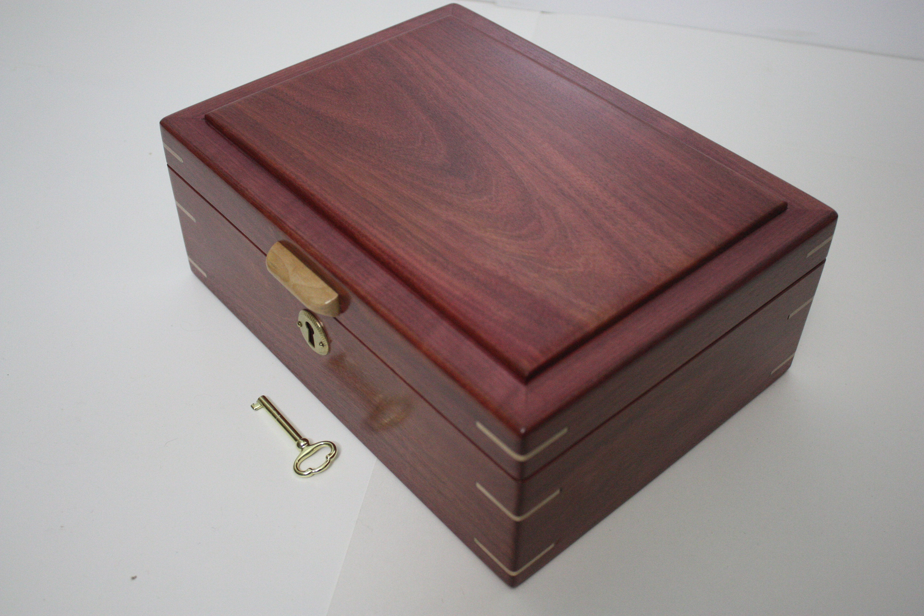 Purple Heart Locking Wood Box For Sale