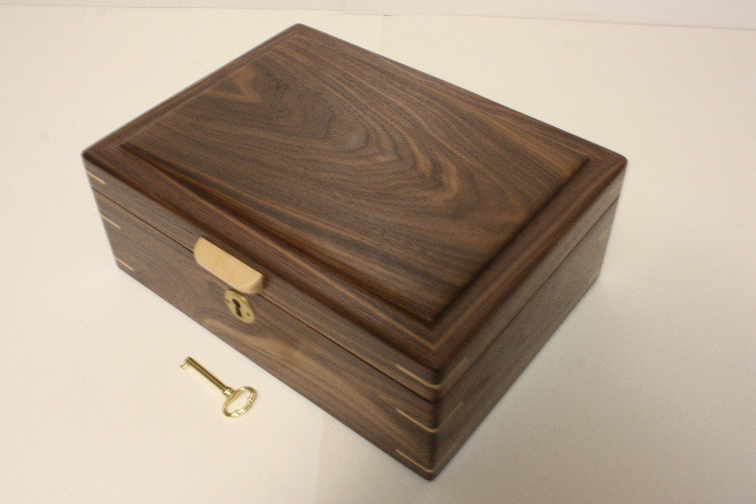 Black Walnut Locking Wood Box For Sale
