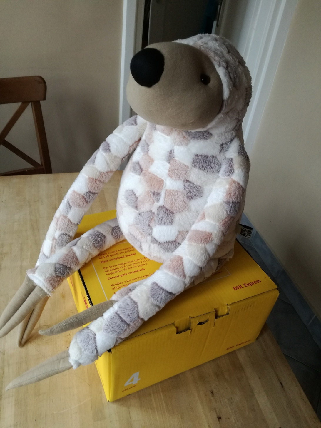 XXL Sloth sitting on a >2kg DHL box (box #4)