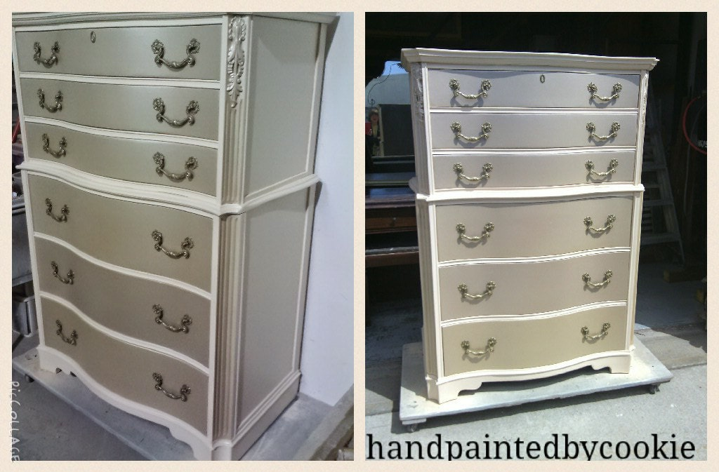 Dresser with metallic and antique white, custom painted