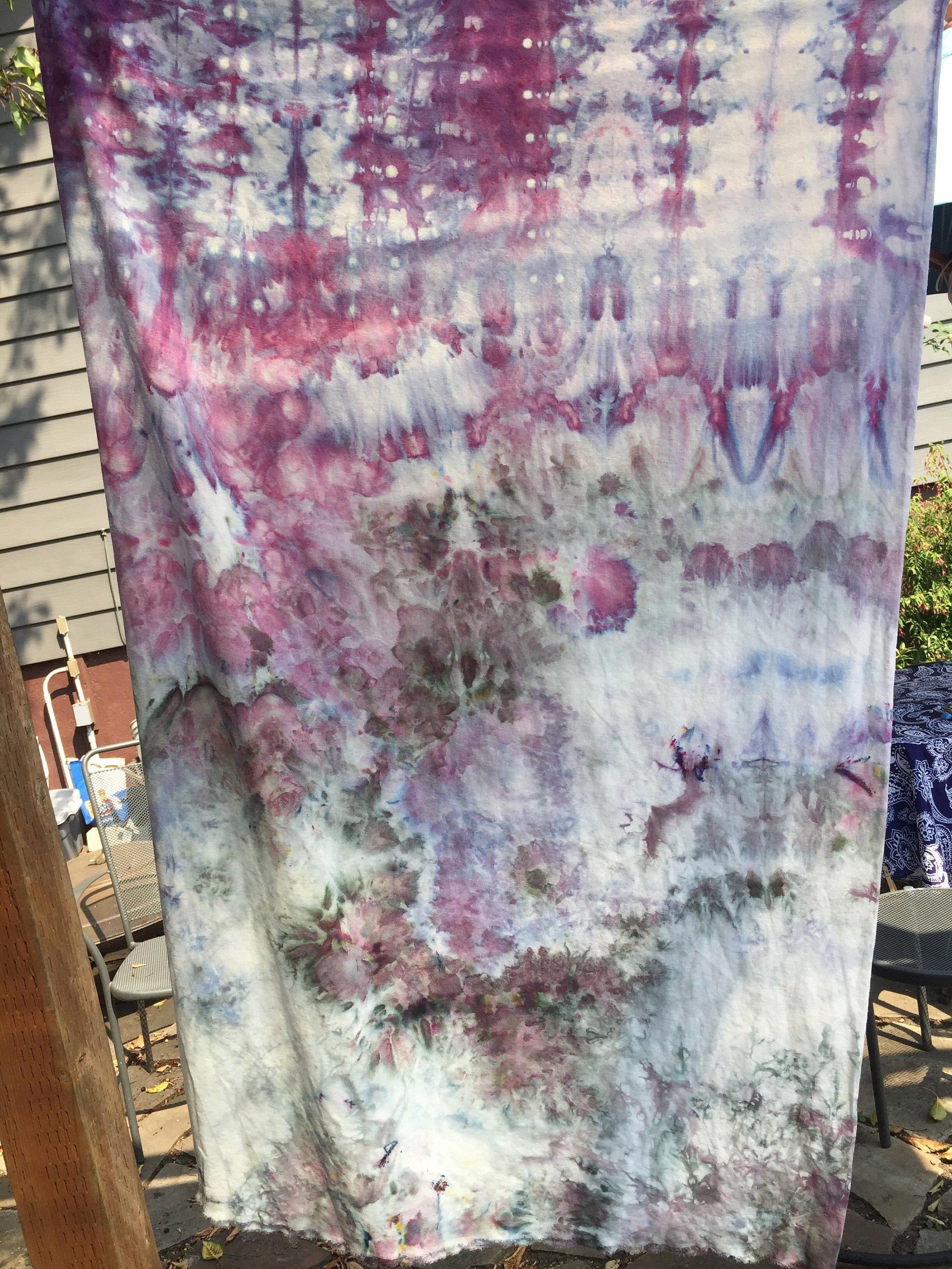The whole cloth, two dye colors - Hydranga and Charcoal Gray