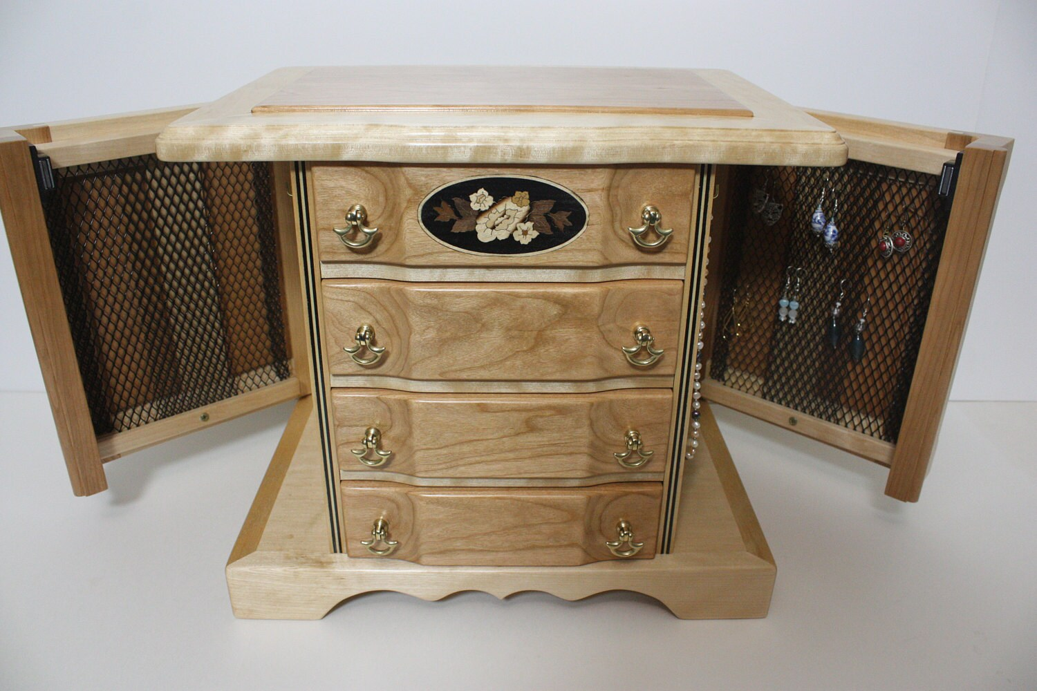 Jewelry Box with Swing Out Sides for Earrings and Hooks for Necklaces