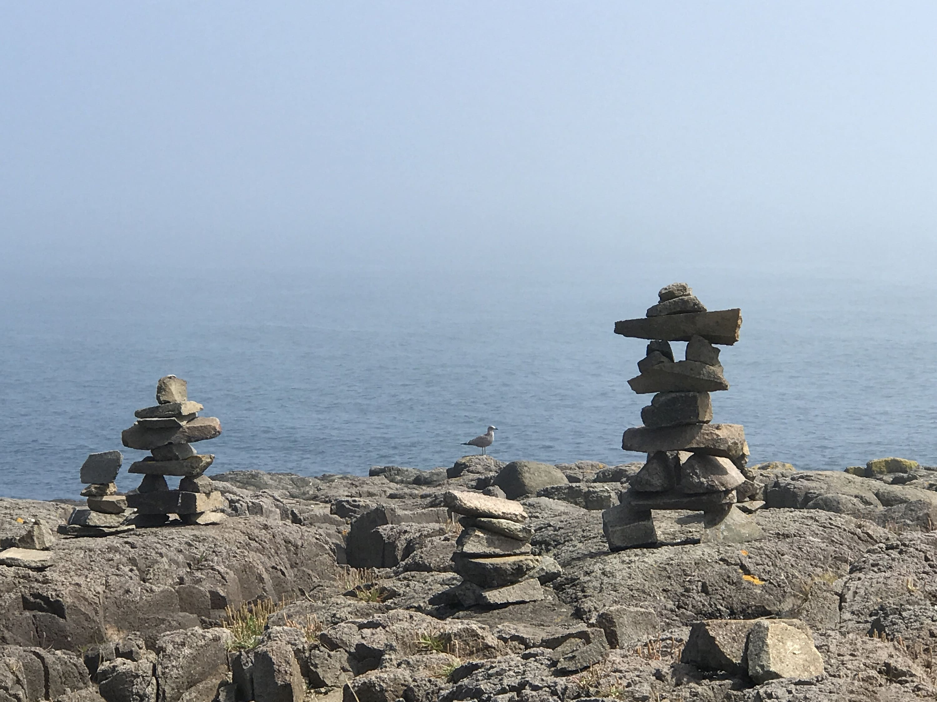 inukshuk on brier island, nova scotia