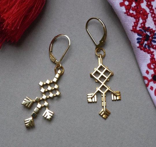 Embroidered Earrings - 3D printed in metal
