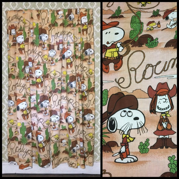 vintage door length cowboy themed Snoopy curtains