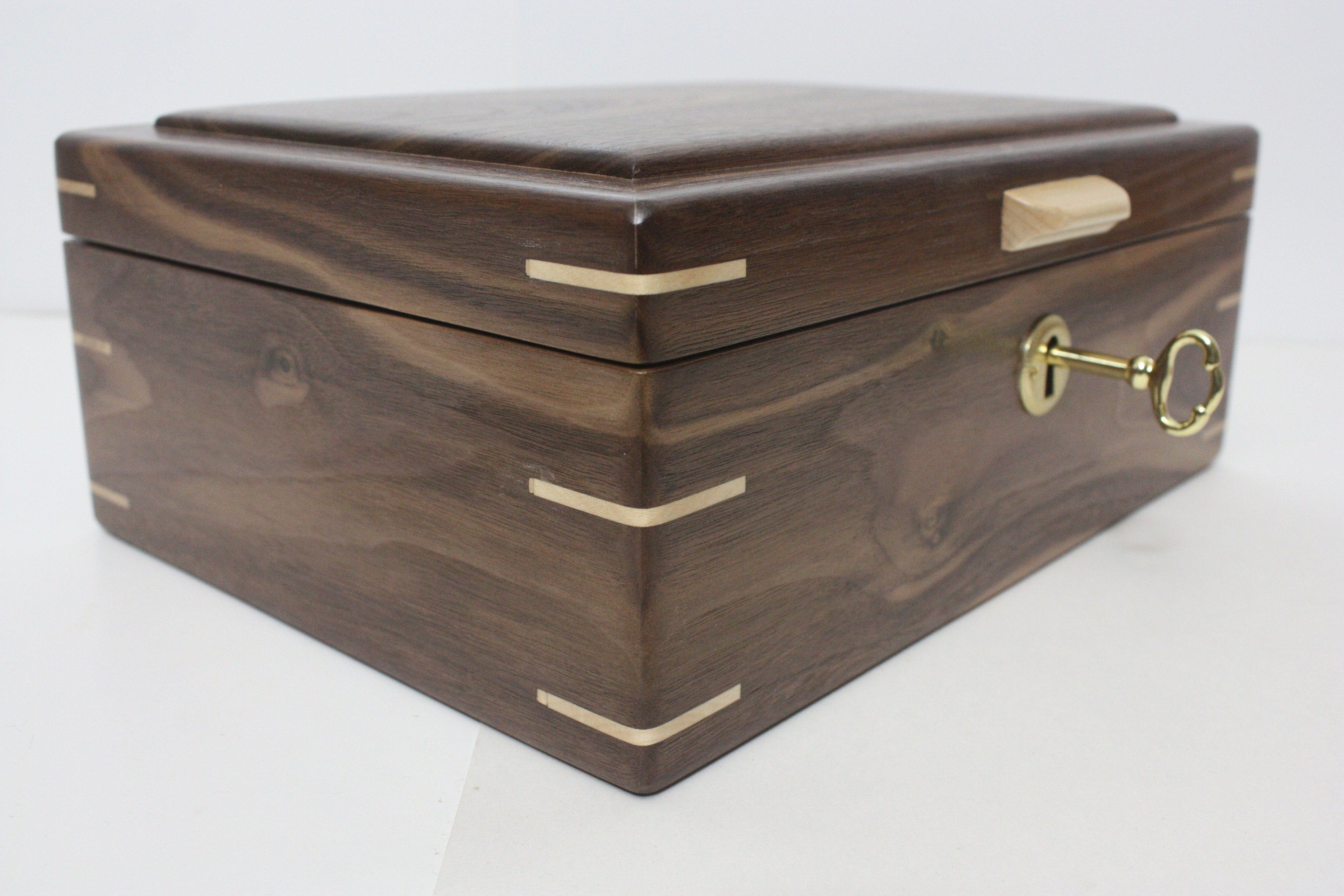 Locking Handmade Walnut Wood Box