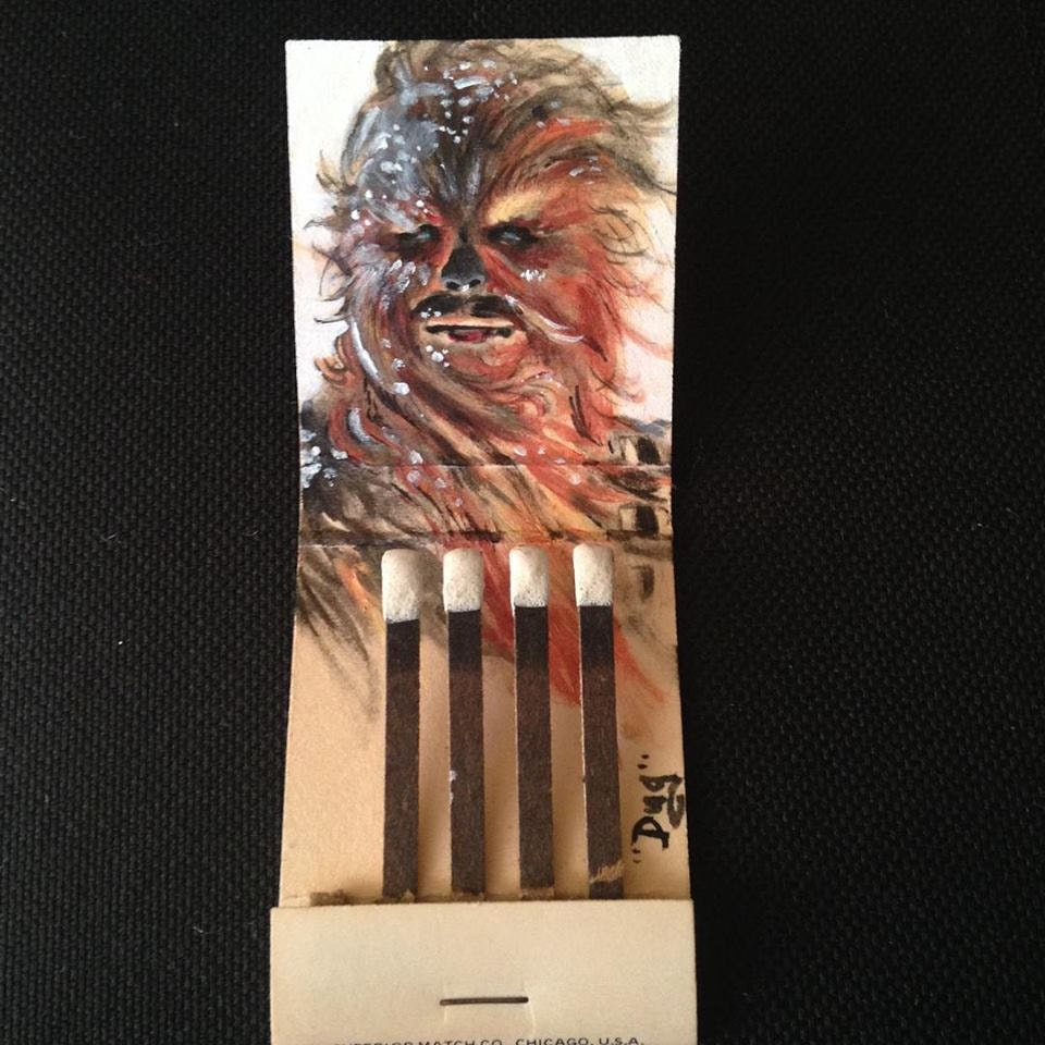 Chewy on Hoth! 1.5x 2 Acrylic on vintage matchbook