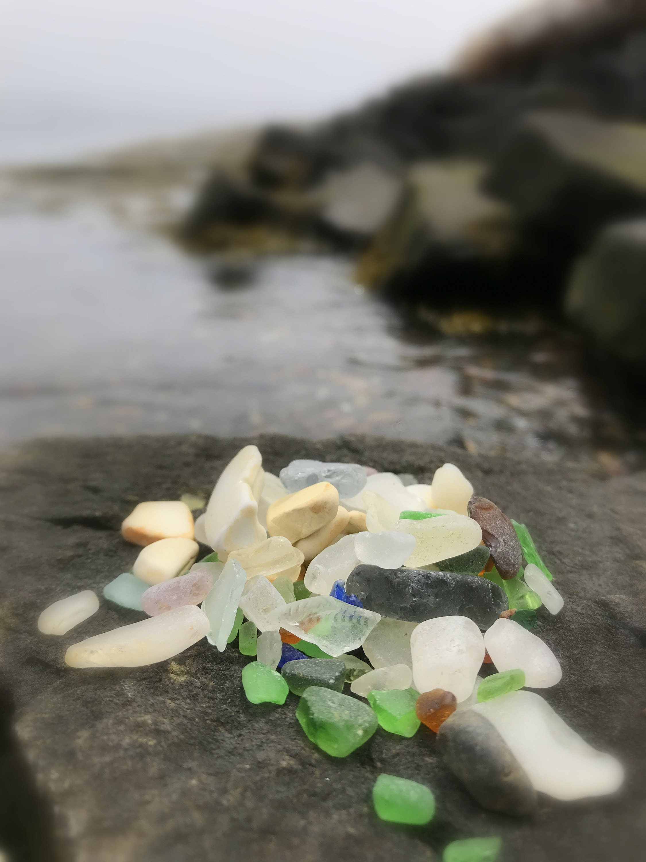 sea glass / beach glass beach on Brier Island, nova scotia