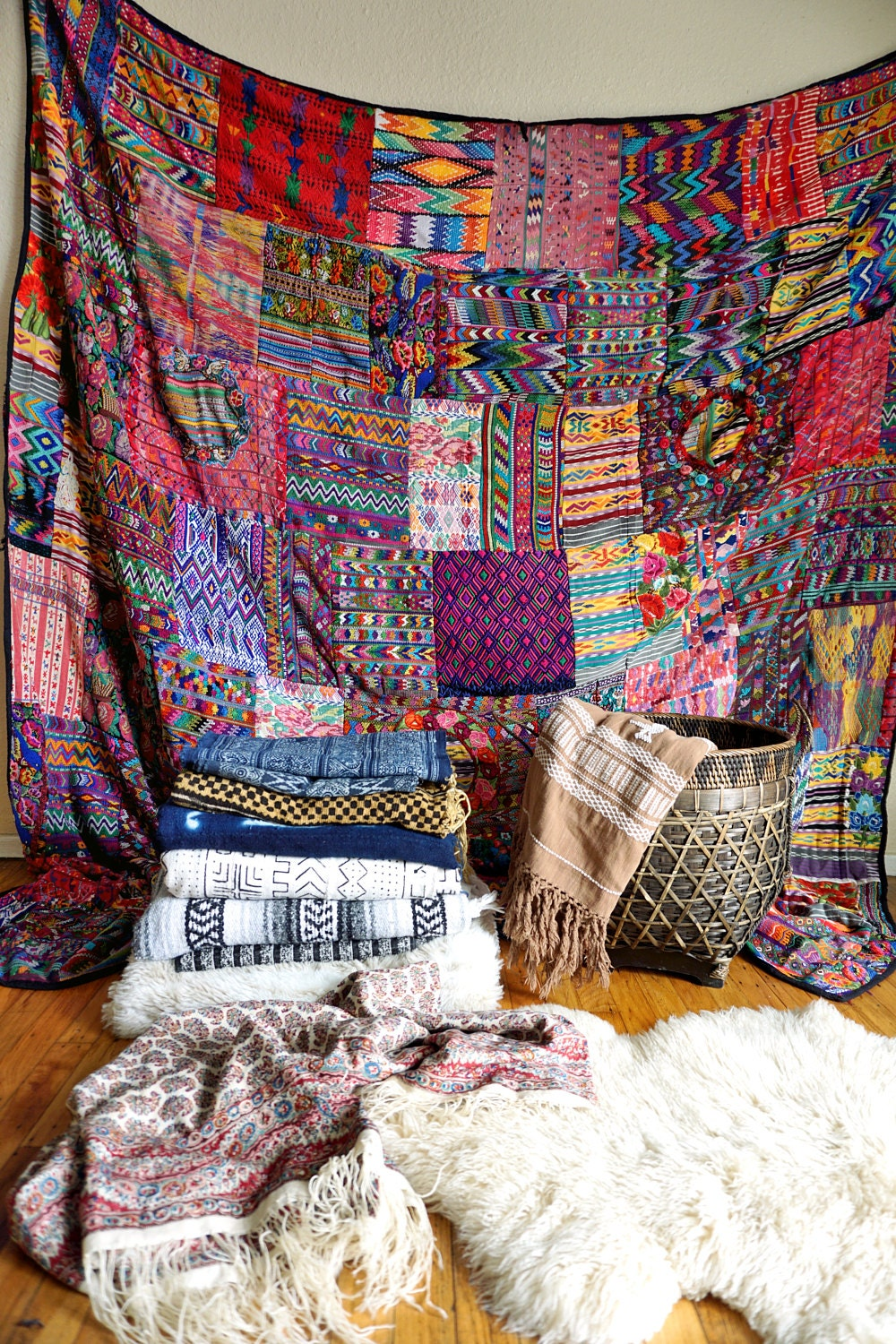 A variety of textiles and rugs for rent