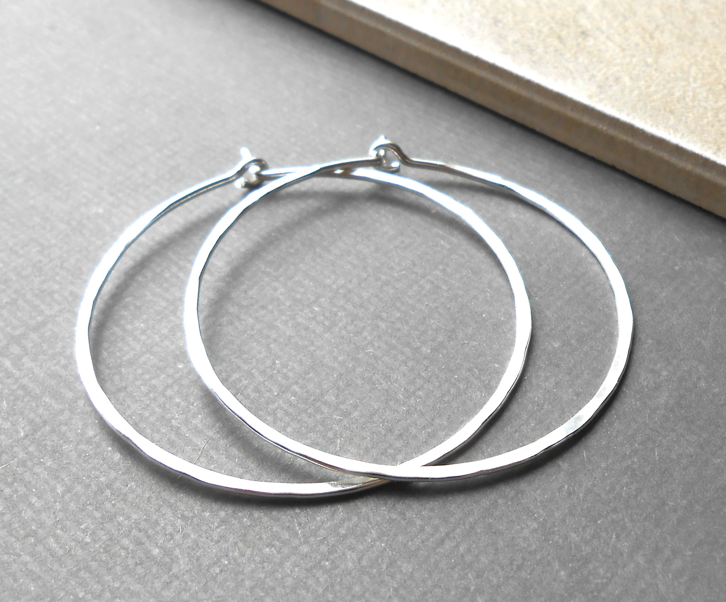 handmade sterling silver hammered hoop earrings