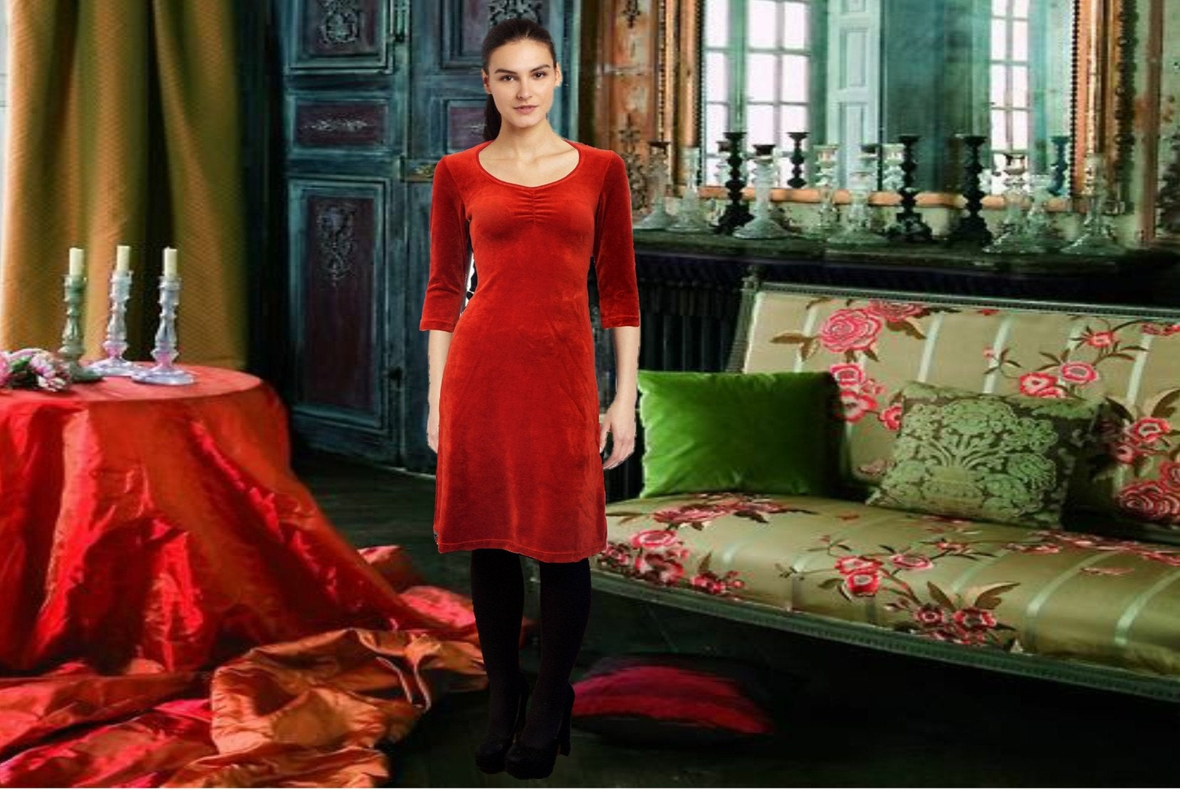 A-line dress made of organic cotton velvet ;https://www.etsy.com/nl/listing/511046707/organic-cotton-velvet-dress-jurk?ref=shop_home_active_47