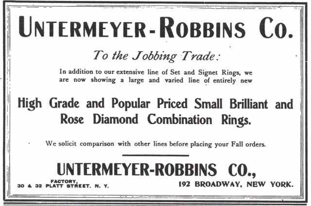 Trade advertising from The Jewelers Circular- 1920s.