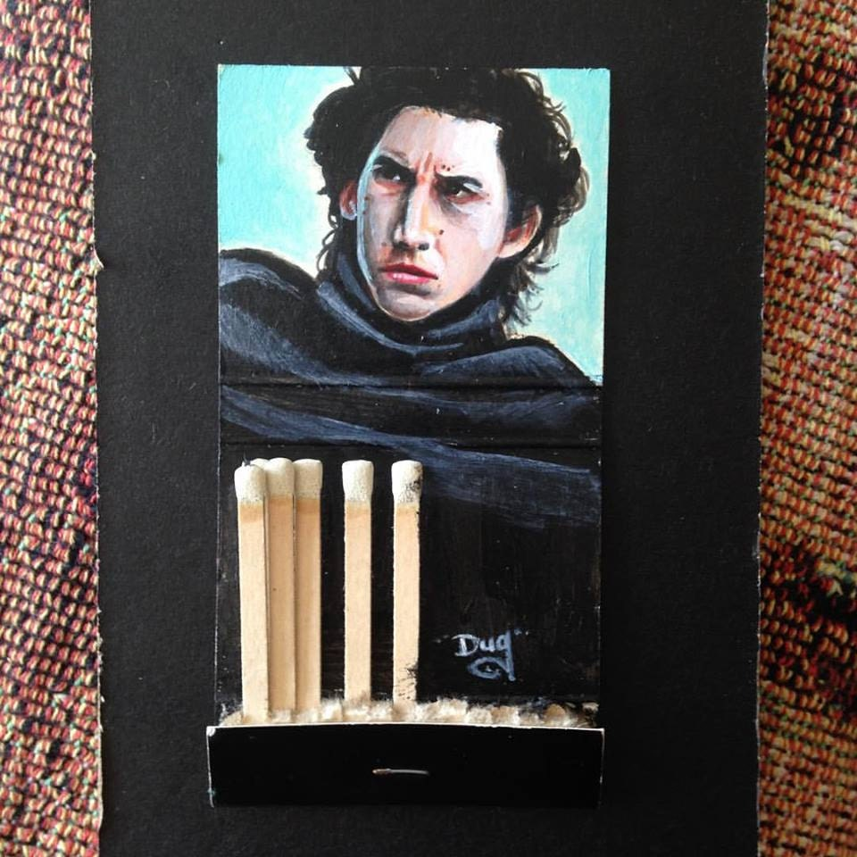 Ben Solo.  2x4.3 Acrylic on vintage matchbook