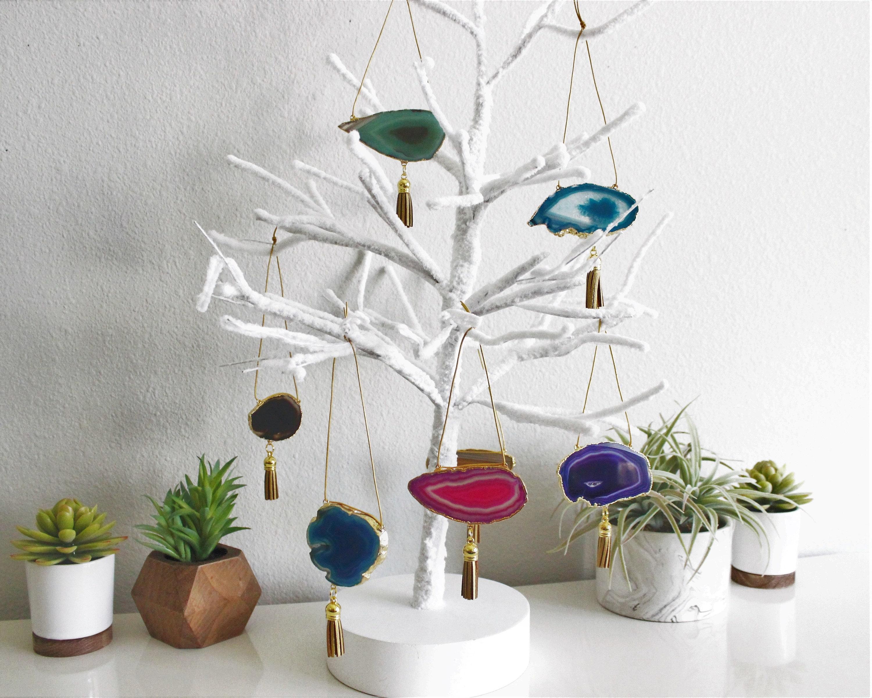 Boho Agate Ornament Set