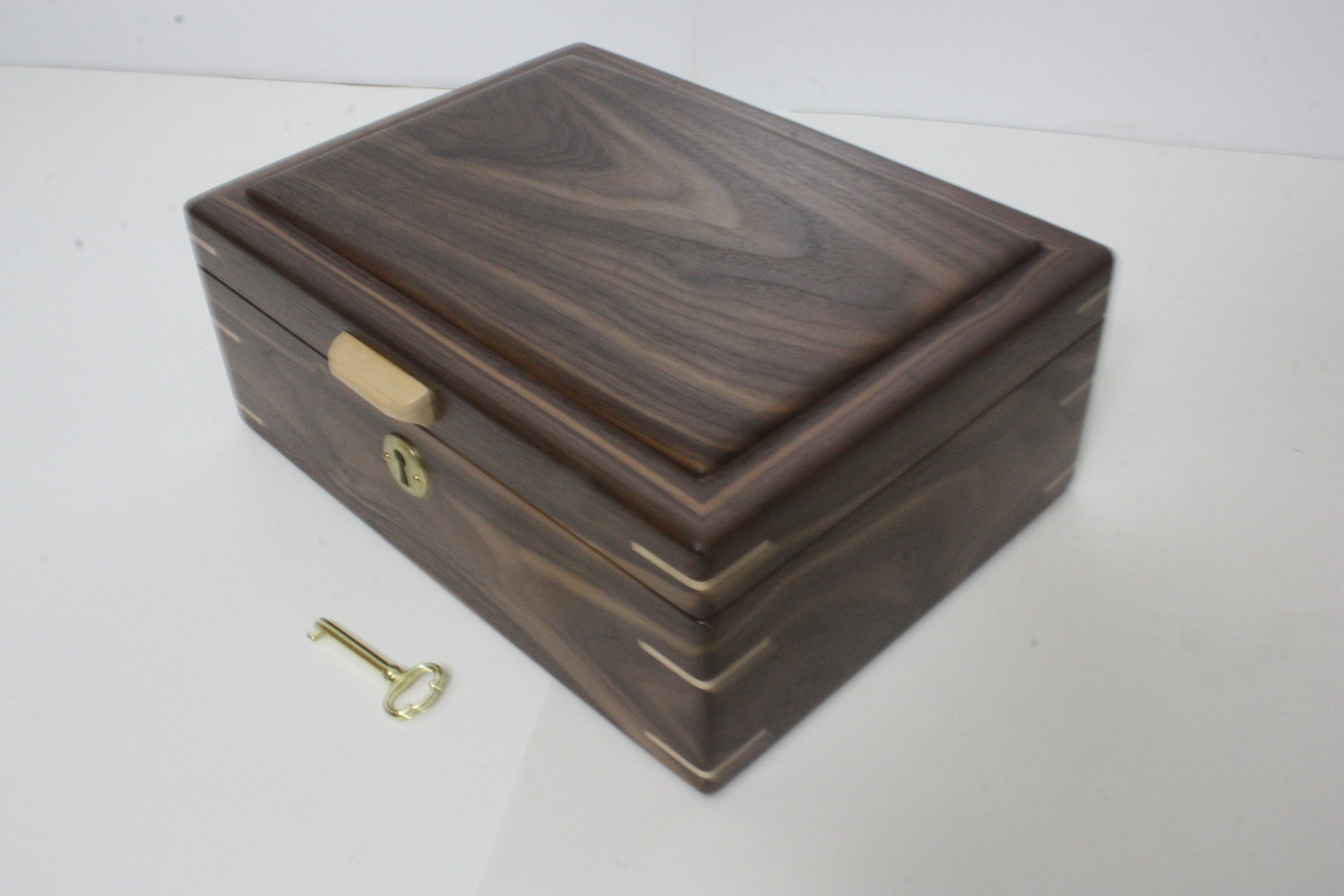 Handmade Locking Wood Box For Sale