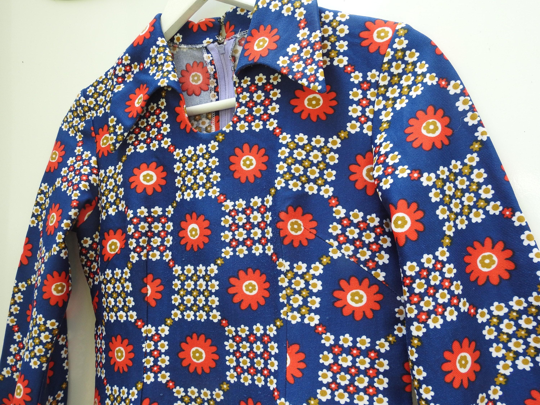 robe vintage femme, robe vintage party 1970, robe femme vintage 1970, robe fleur vintage, robe fleurie vintage, robe femme année 70