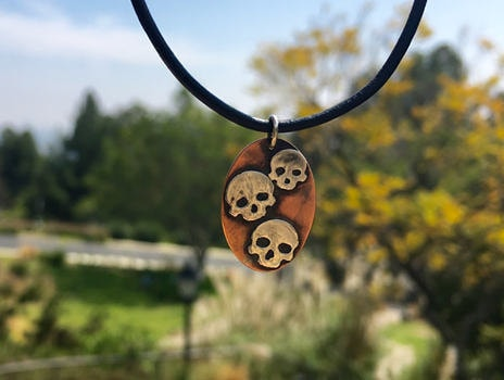 Copper and Sterling Silver Skull Necklace