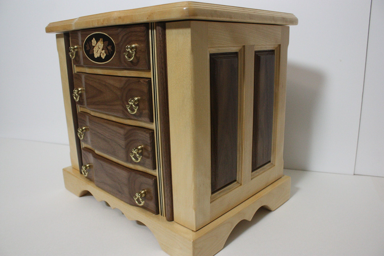 Handmade Birch and Walnut Jewelry Box For Sale