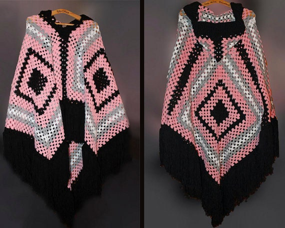 Hooded Poncho, Boho Chic, Hippie, Womens Poncho, Hooded Wrap, Custom Made, Custom Order, Large Poncho, Crochet Poncho