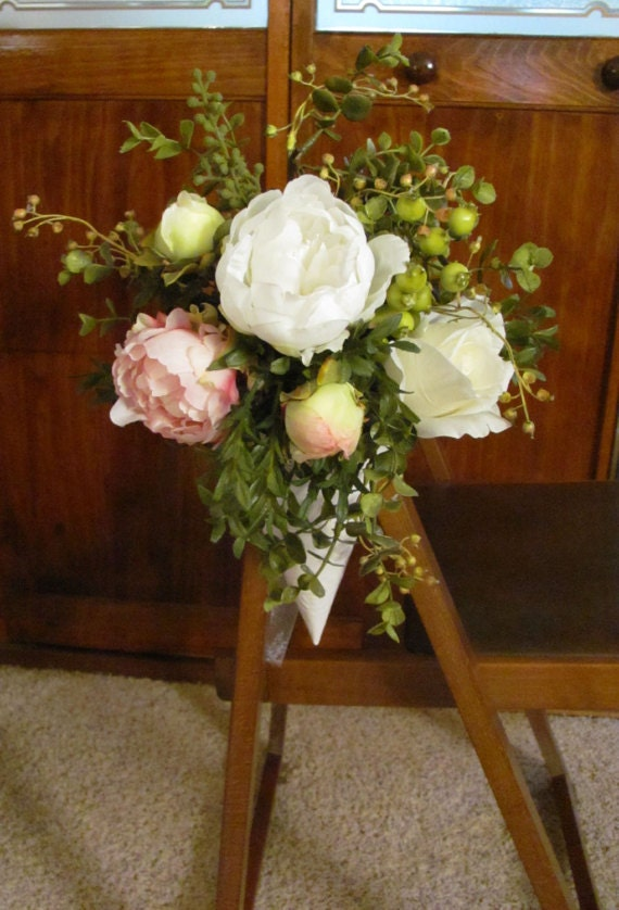 Wedding Aisle Flowers Pink and White Peonies