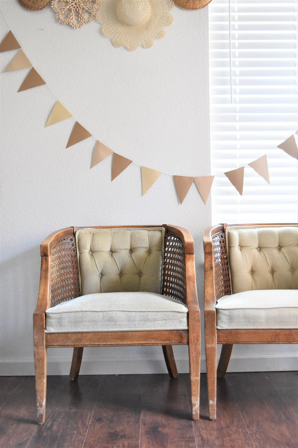 Pair of tufted, mid century wood chairs perfect for that romantic, rustic wedding decor. Just add a his & her sign, and these would make the most beautiful photo props!