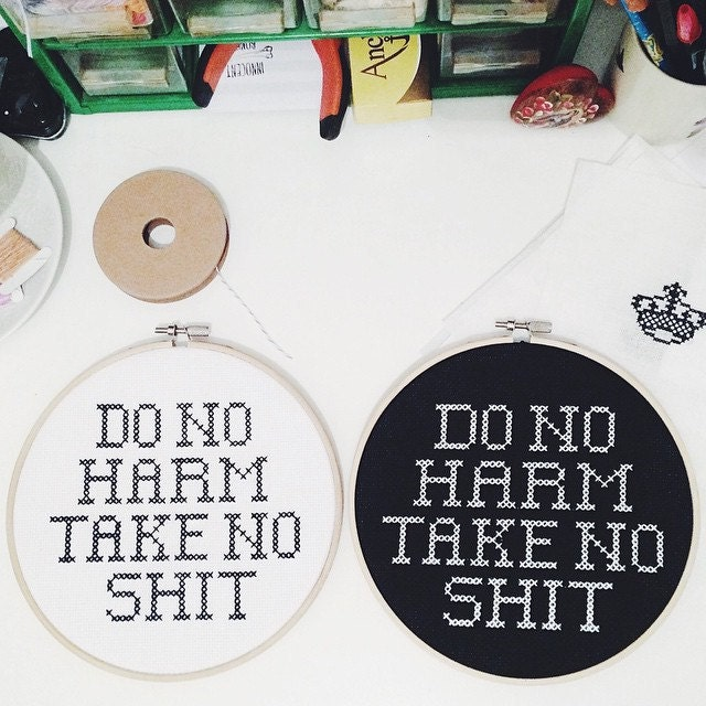 do no harm take no shit cross stitch design pattern