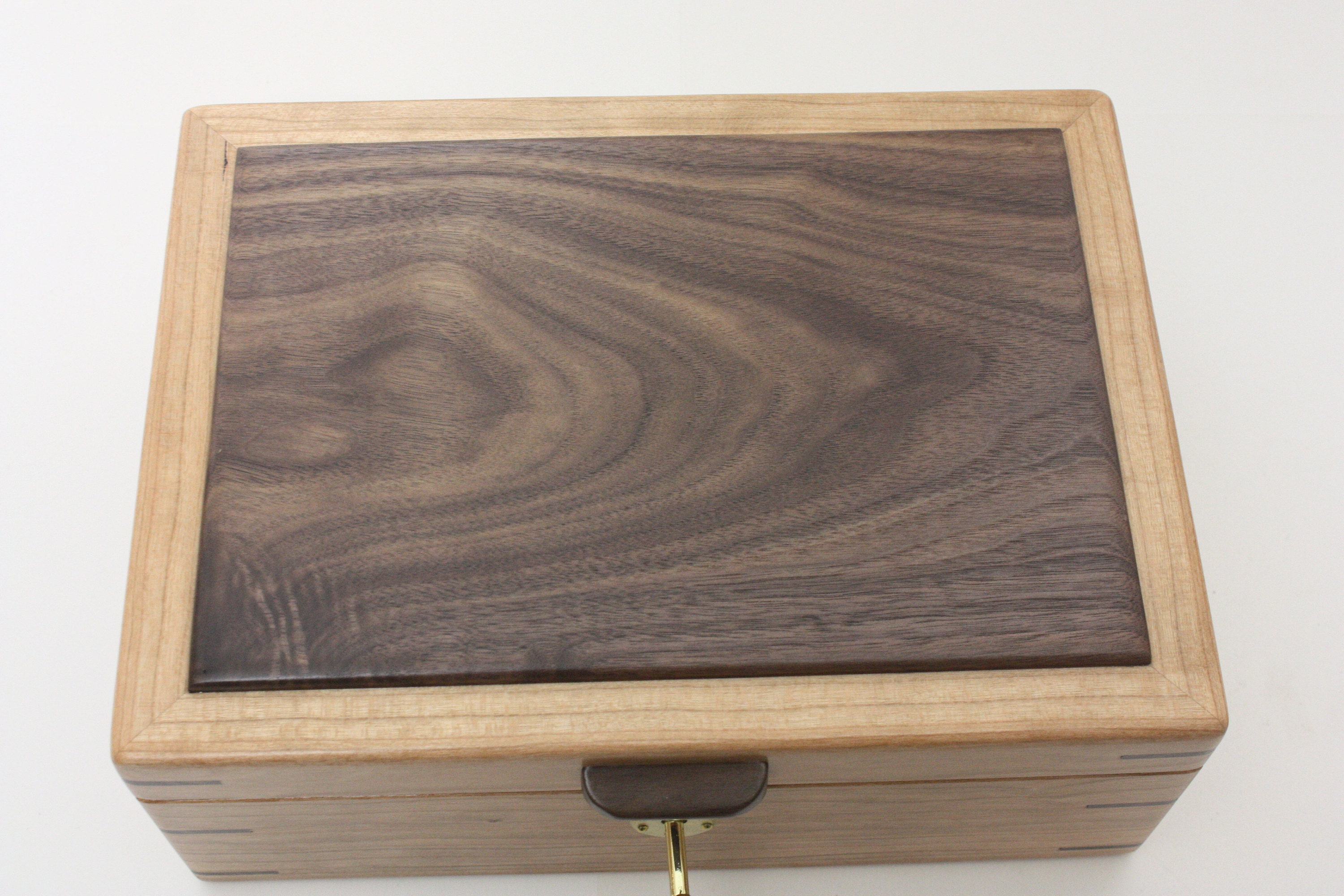 Cherry Wood Box with Walnut Lid For Sale