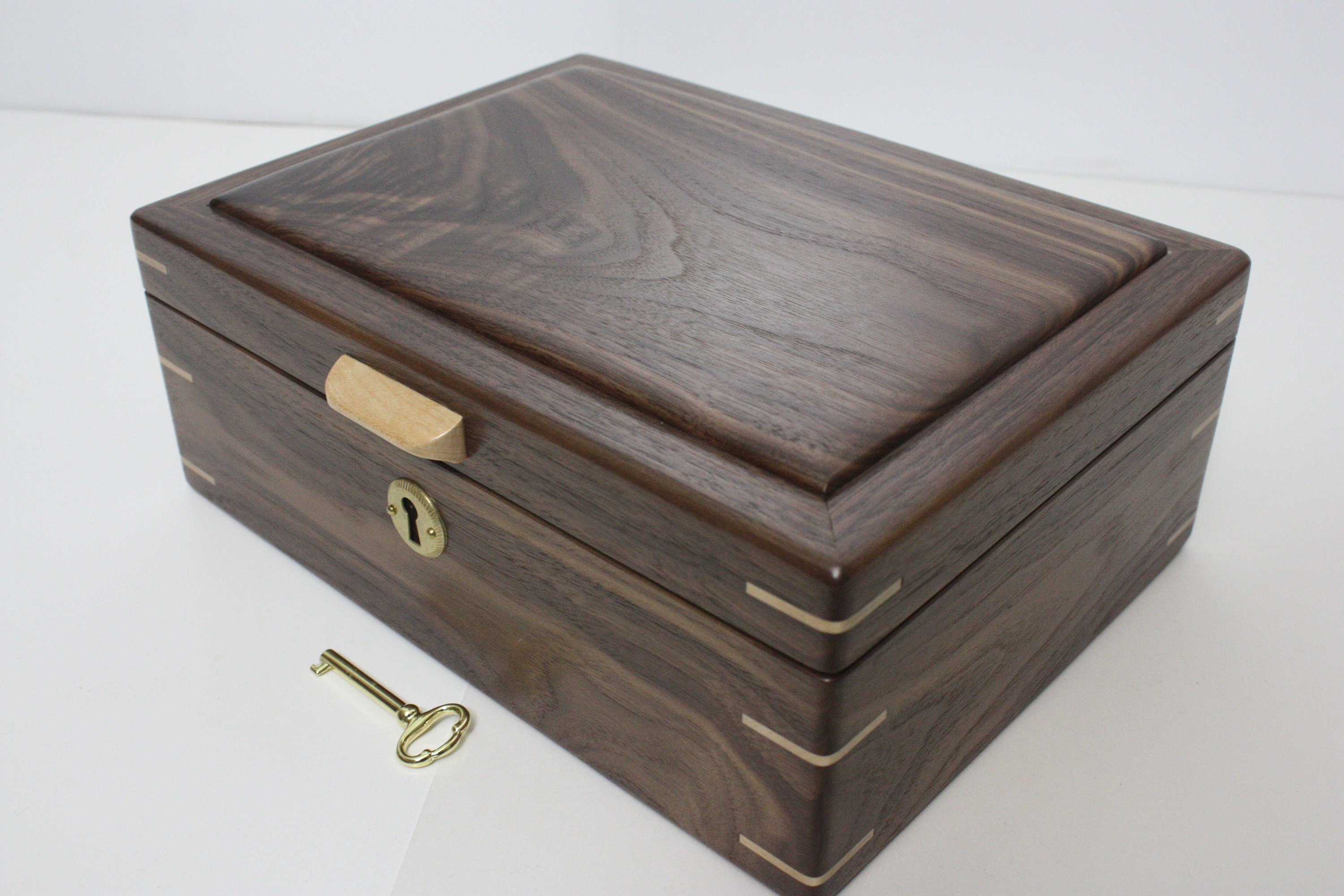 Handmade Locking Black Walnut Wood Box For Sale
