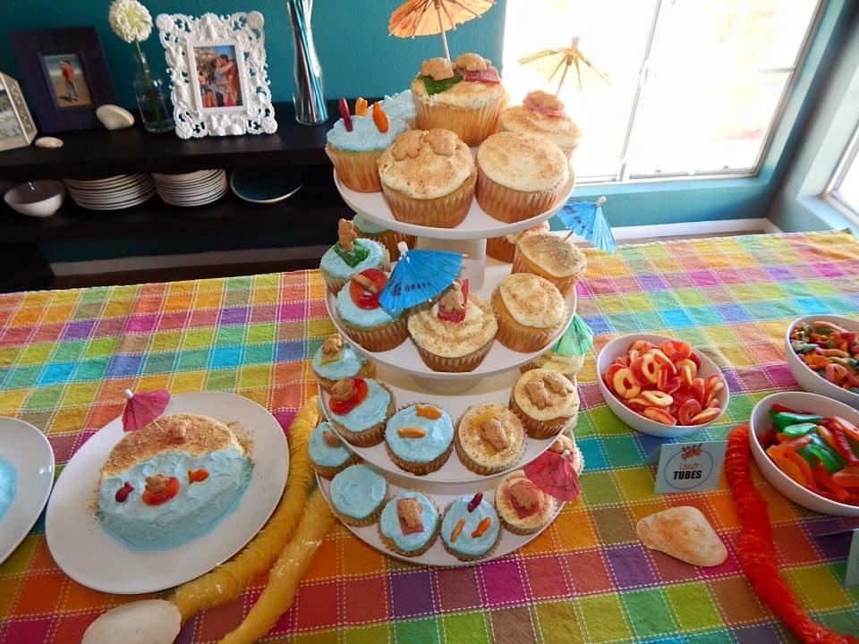 beach cupcakes and cake
