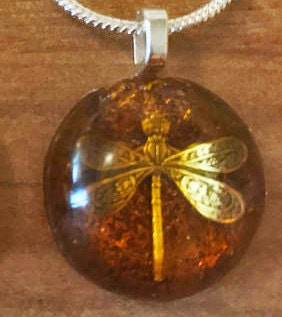 Dragonfly in Amber with Silver snake Chain