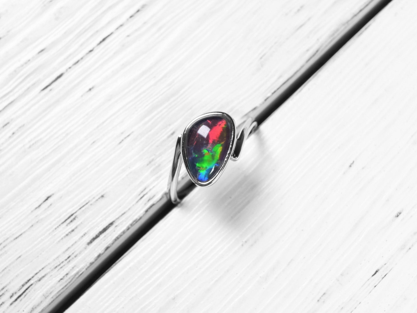 unearthed gemstones triplet opal ring sterling silver