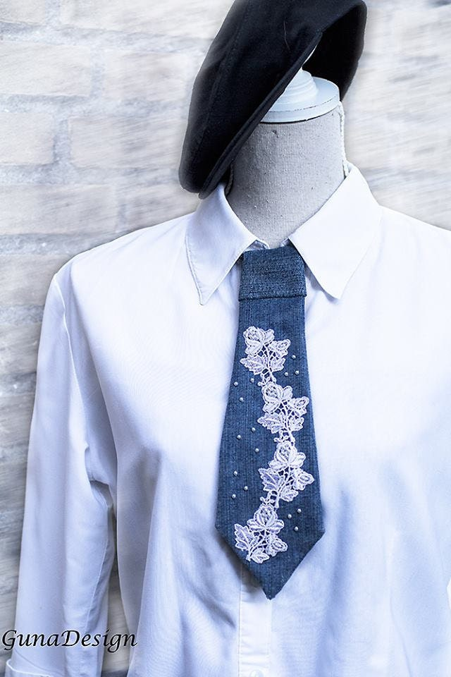 GunaDesign denim lace tie