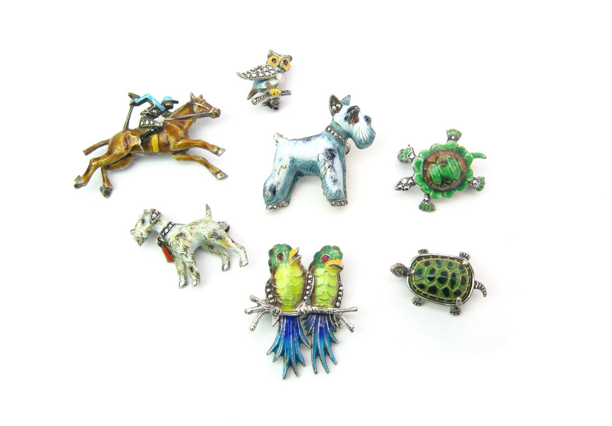 Vintage Made in Germany Enameled Sterling Animal Brooches by Alice Caviness and others.