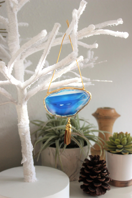 Blue Boho Agate Ornament