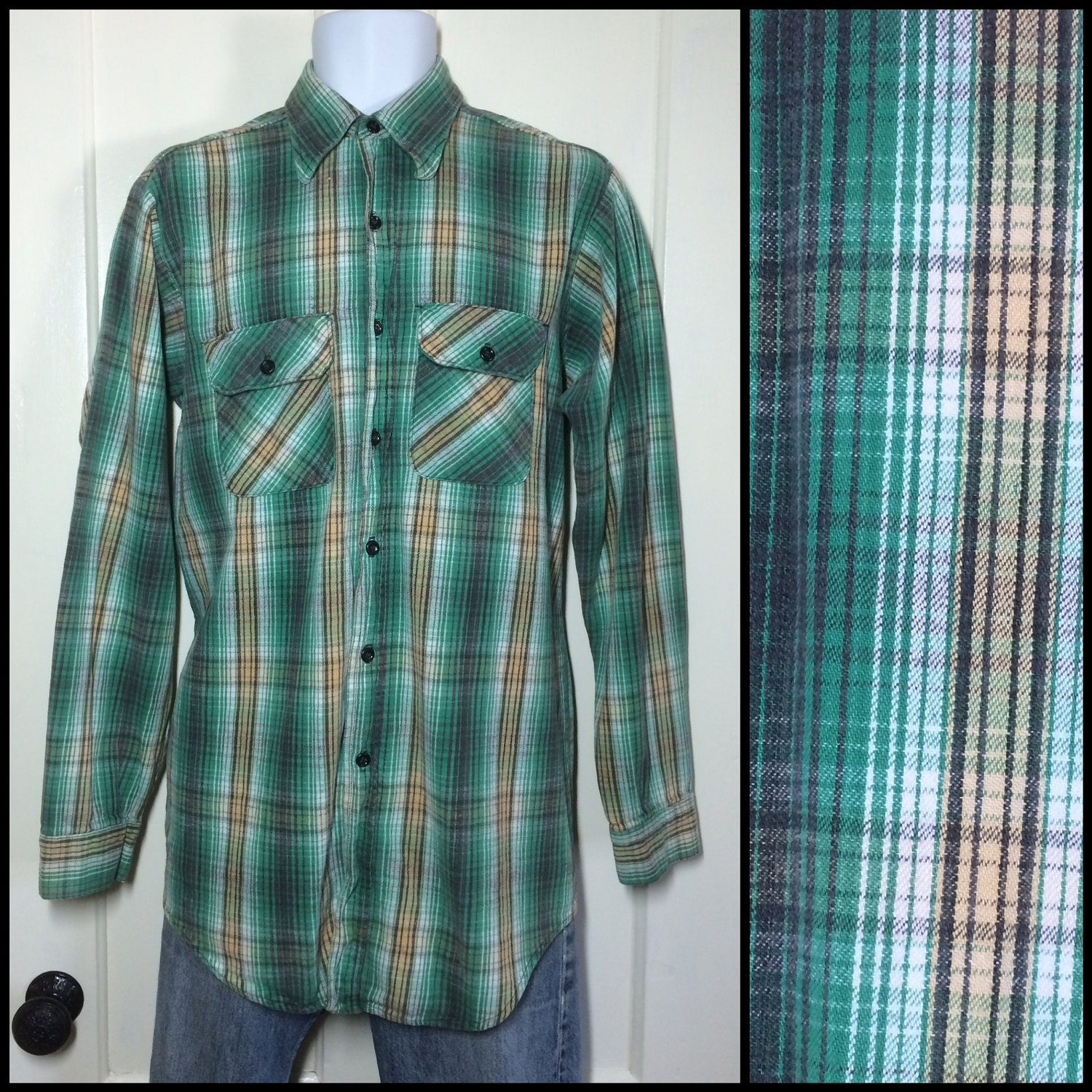 1960s heavy cotton flannel shirt