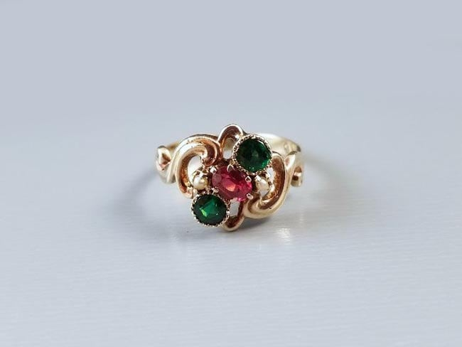 antique Edwardian rose gold ring with garnet and glass doublets, signed Ostby & Barton (Providence, RI) circa 1910