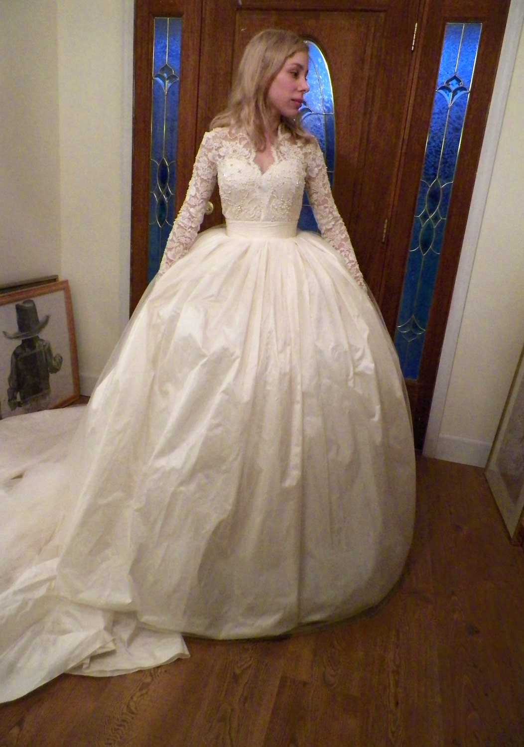 Jay wearing the bell cage crinoline under her wedding dress