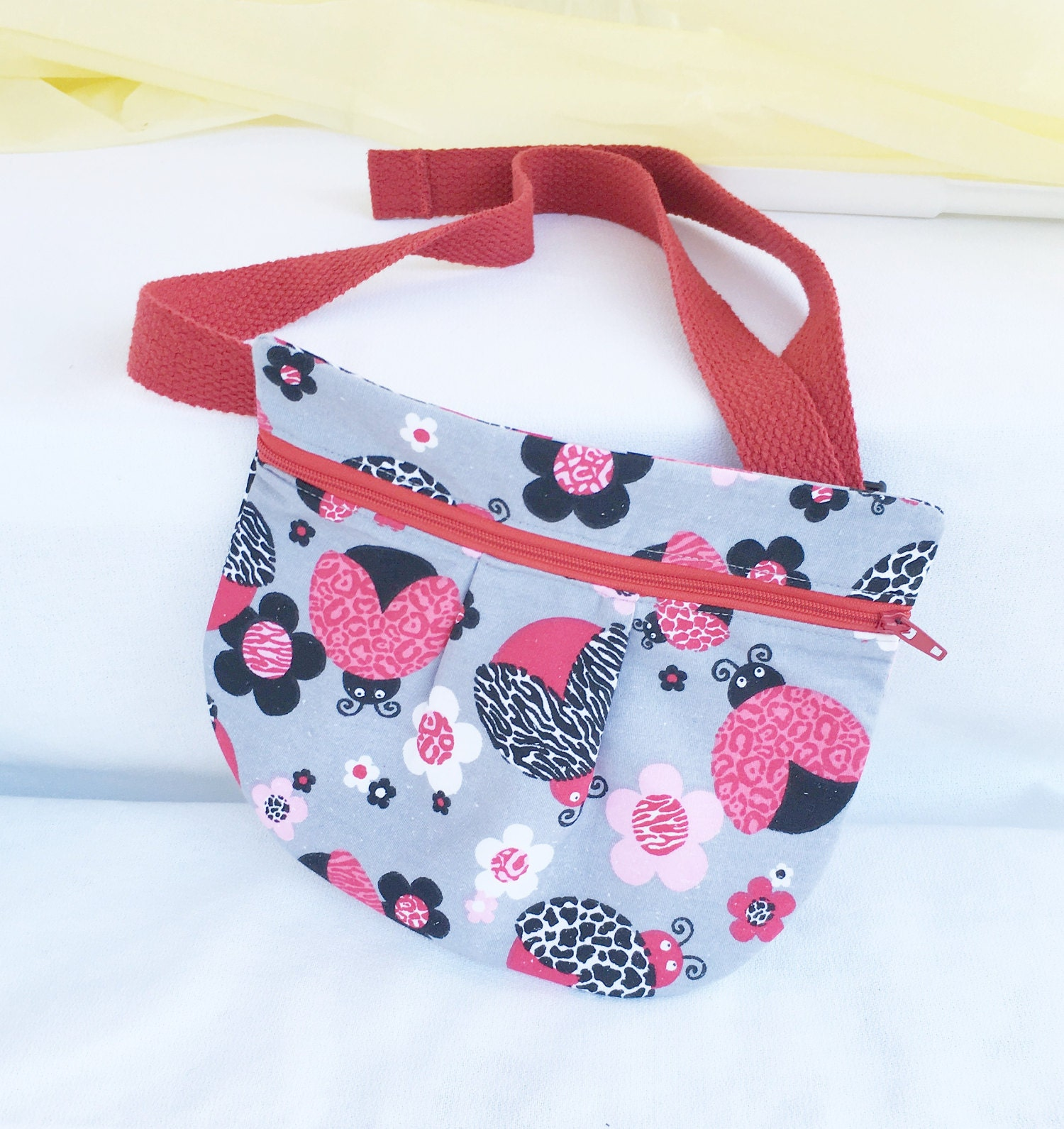 Ladybug waist pouch, hip pocket, red and grey