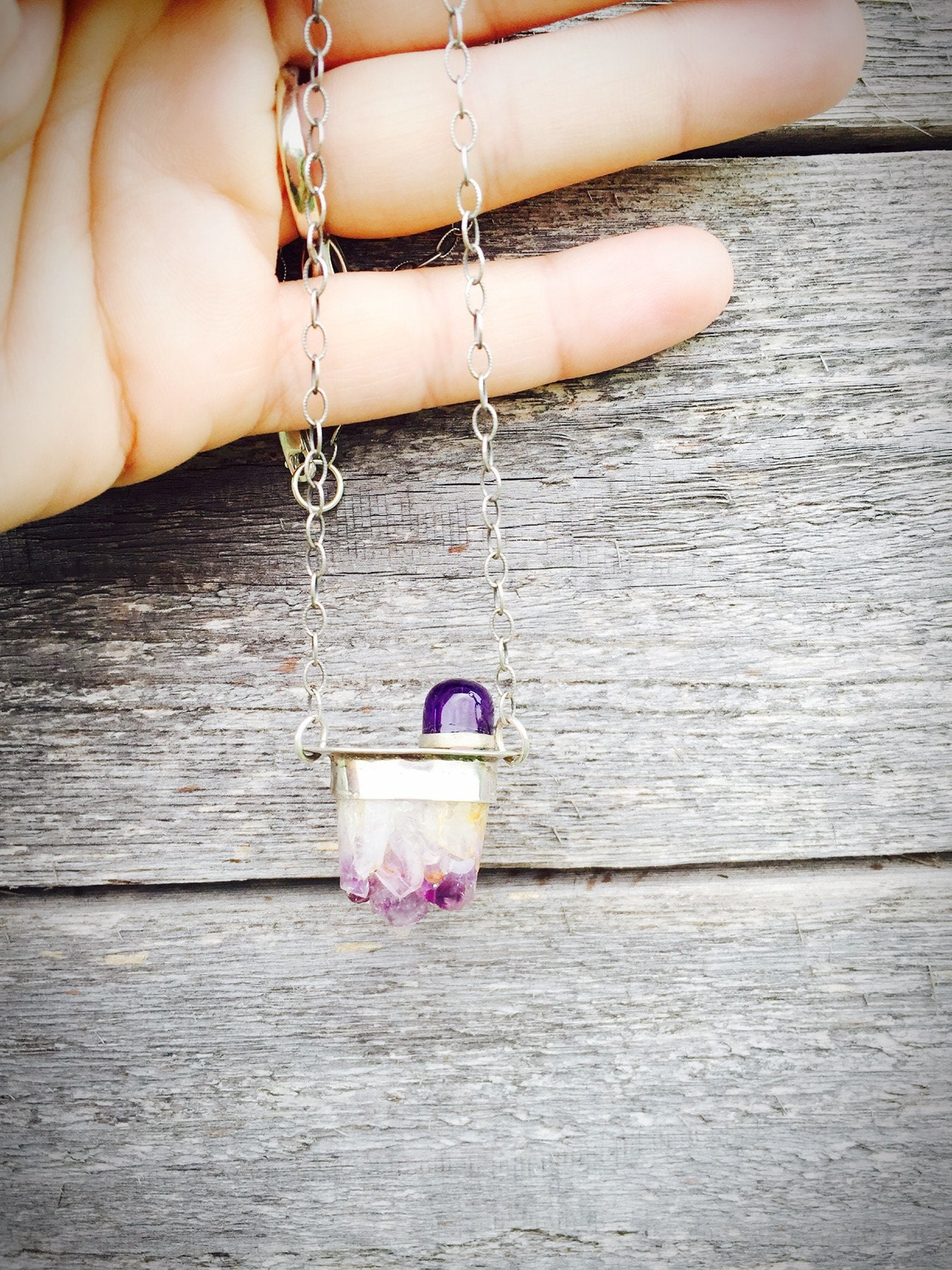 Amethyst Cabochon & Natural Cluster Necklace