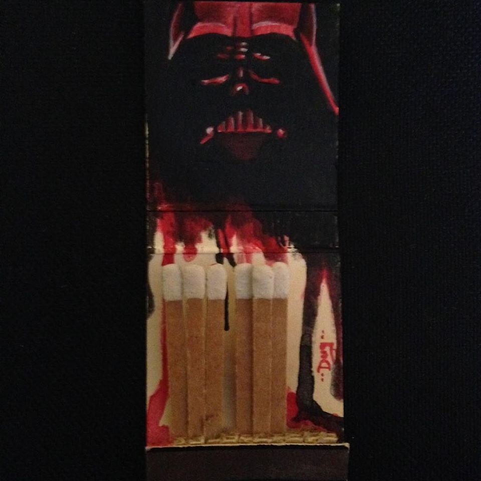 Dad?  1.5x2 Acrylic on vintage matchbook
