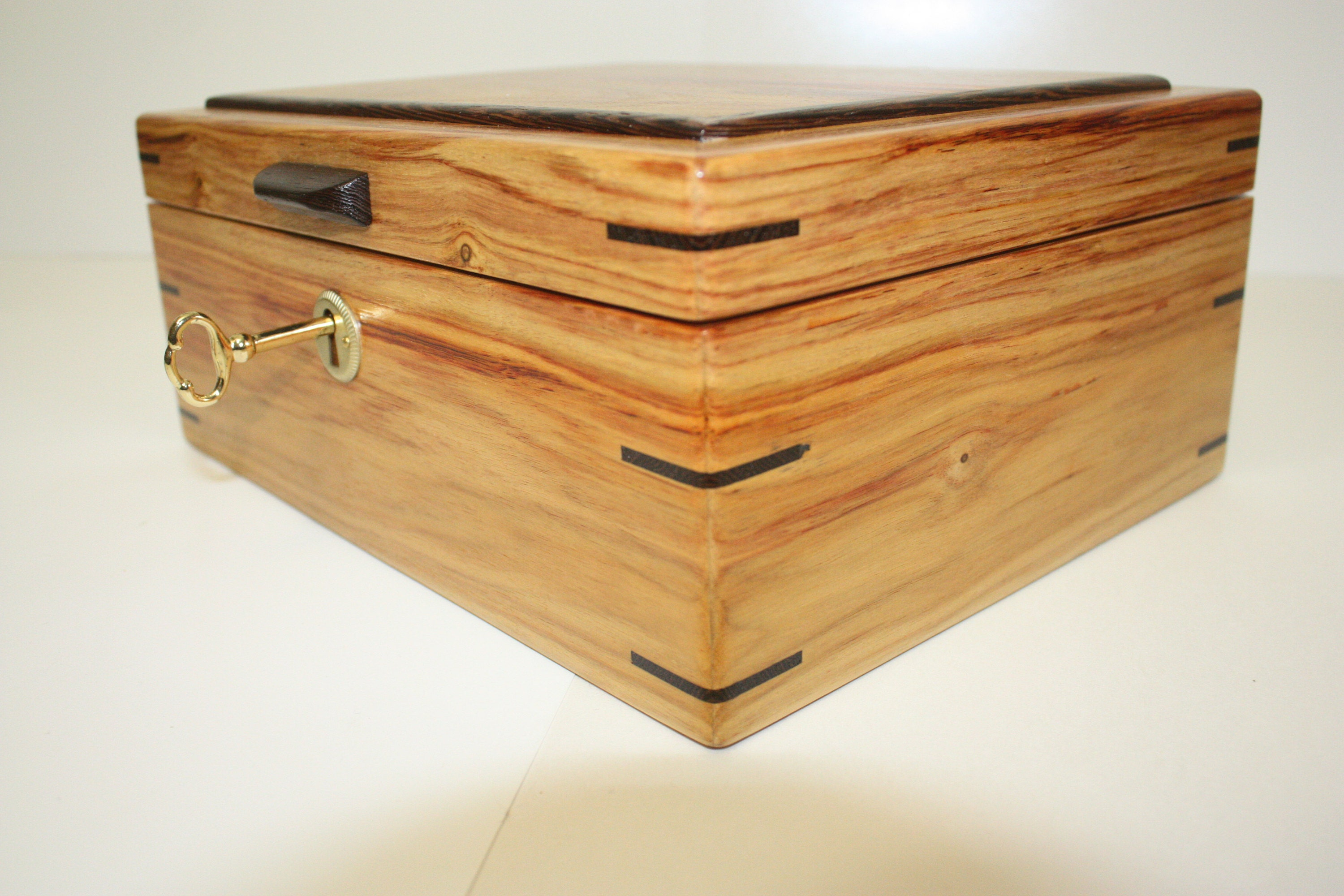 Handmade Locking Canarywood Wooden Box
