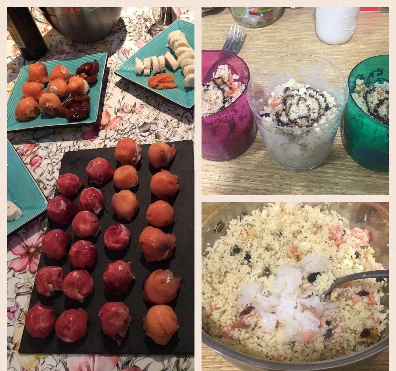 Bombas de salmón y jamón serrano, con ensalada de ahumados y cous cous