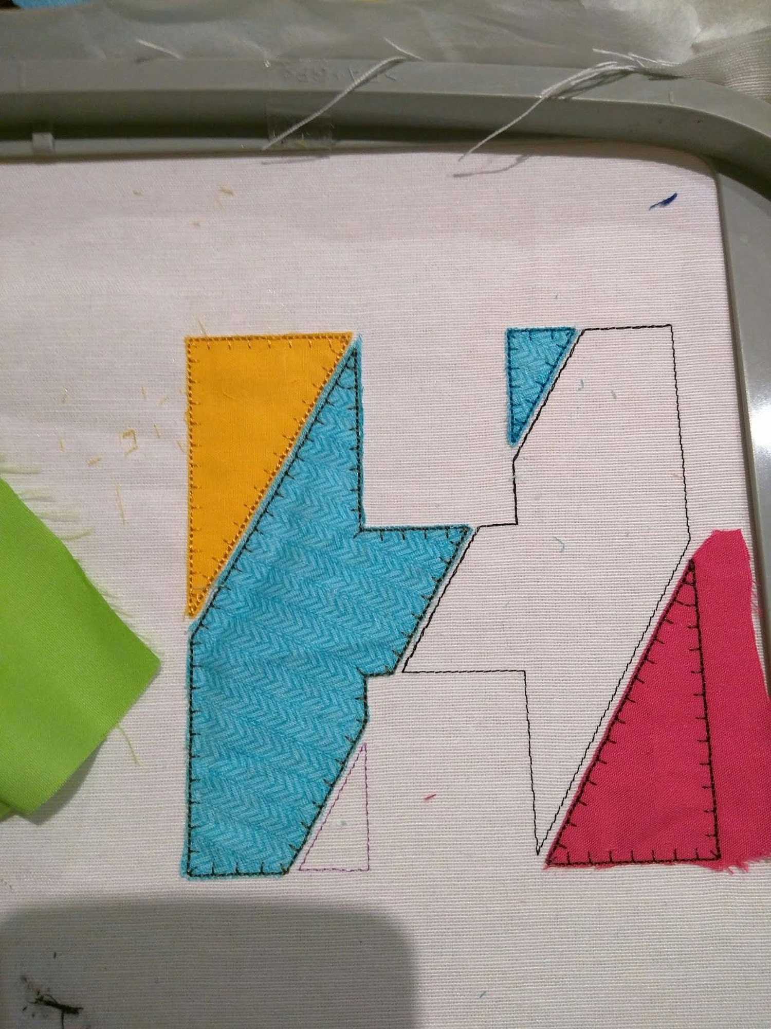 Patchwork style applique letters free instructions below