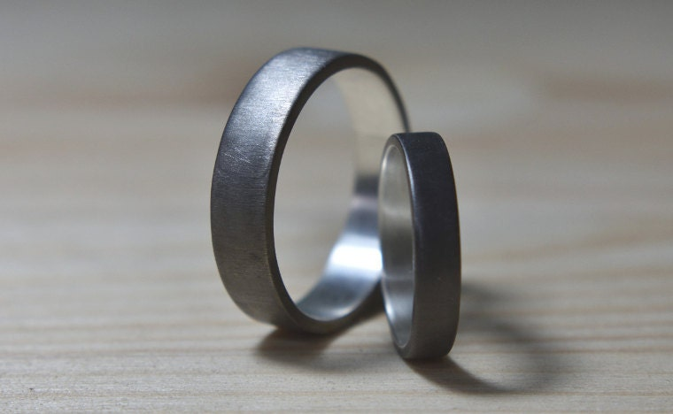 Black Rhodium Plated Wedding Band Set