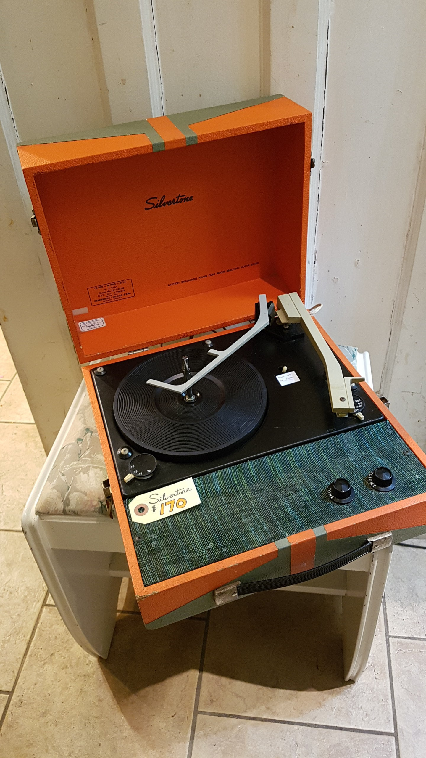 1960s Silvertone Suitcase Record Player $170